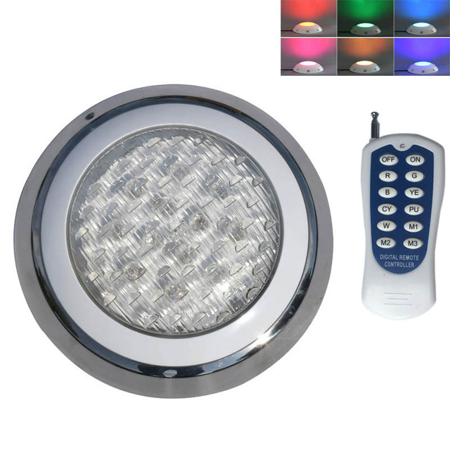 Plastic RGB LED Underwater Light with Remote Controller for Swimming Pool Pond 12V Marine Boat Yacht