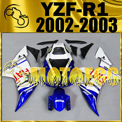 Motoegg Injection Mold Fairings For YZF R1 2002 2003 02 03 FIAT Blue White M11 Motorcycle