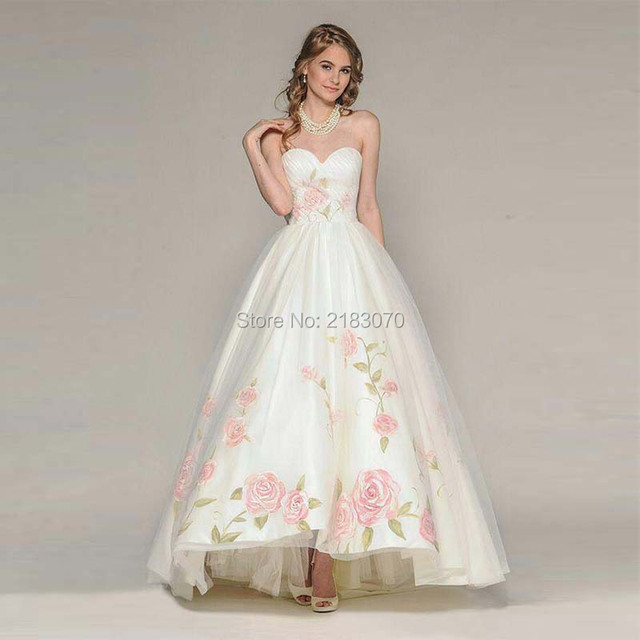 Art Flower Pattern Wedding Dresses Robe Mariee 2016 Country Style ...