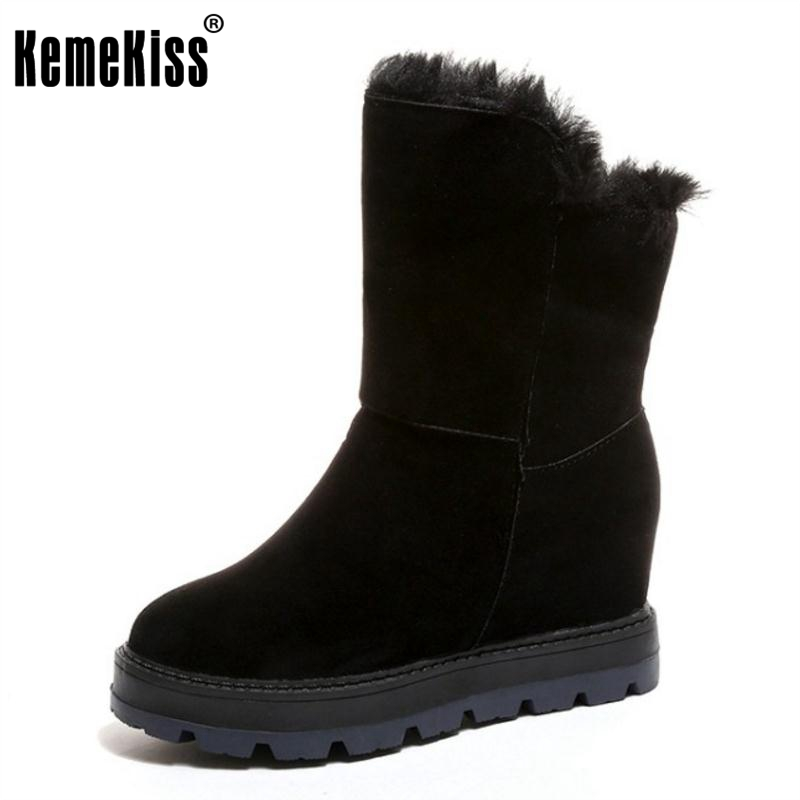 KemeKiss Winter Shoes Women Thick Fur Inside Mid Calf Snow Boots For Women Height Increasing Wedges Winter Botas Size 35-39 new fashion winter snow boots women imitation fox fur snow boots mid calf winter shoes boots for women australia botas bls 056