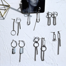 Новейшие панк минималистичные серьги с металлической цепочкой, геометрические Асимметричные ретро круглые серьги для женщин, модные ювелирные изделия для ушей, лучшие подарки