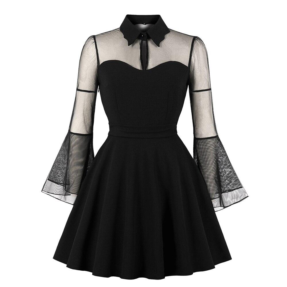 Mujeres Gothic Sexy Mini vestido otoño negro malla Patchwork ver a través de Flare manga drapeado elegante más tamaño partido vestidos