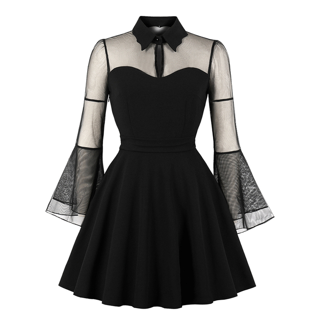 458de34fc1d Women Gothic Sexy Mini Dress Autumn Black Mesh Patchwork See-Through Flare  Sleeve Draped Elegant Plus Size Party Short Dresses