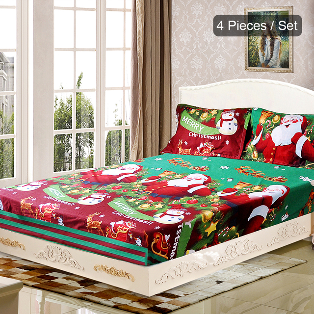 4pcs Christmas Santa Bedding Set Micro Fiber 3D Printed Fitted Bed Sheet  Pillowcase Bed Sheet Set