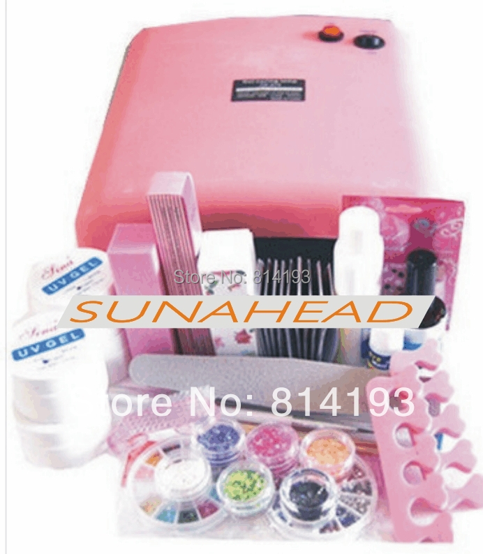 Professional Full Set UV Gel Kit Nail Art Set + 36W Curing UV Lamp Dryer Curining em 123 free shipping pro full 36w white cure lamp dryer