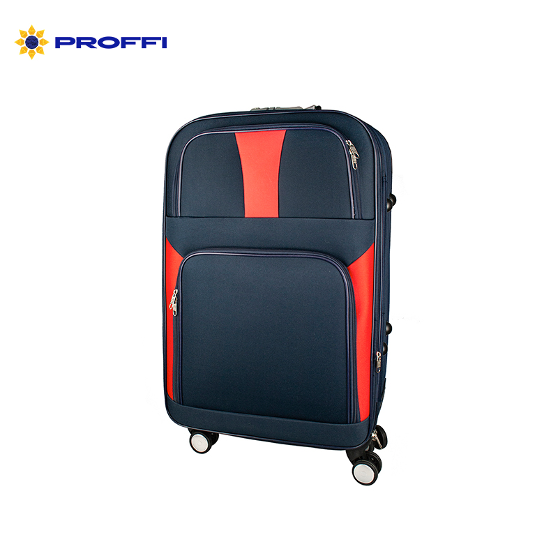 Suitcase PROFI TRAVEL PH9086 fabric with retractable handle with combination lock M 4680477027494 on wheels [available from 10 11] black suitcase profi travel ph8866 l plastic with retractable handle on wheels