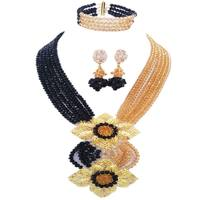 African Wedding Black Champagne Gold Ethnic Crystal Beads Jewelry Sets for Women 6C HL 04