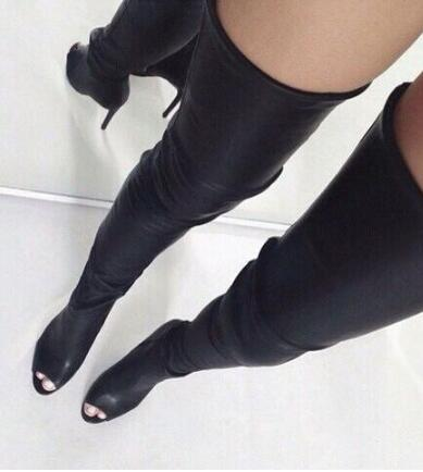 summer woman brand new stylish high quality leather thigh high boots sexy open toe high heel boots long boots