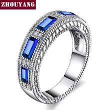 Blue Gem Created Blue Crystal Silver Color Wedding Cubic Zirconia Finger Ring Crystal Brand Jewelry for Women ZYR467