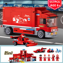 557Pcs F1 Formula Racing Car Transport Truck Building Blocks Sets LegoINGLs City Playmobil Toys for Children Christmas Gifts