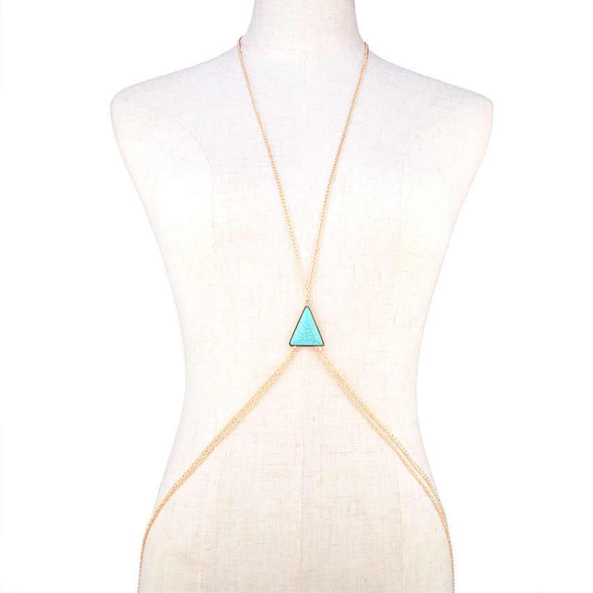 2017 nowy kolor złoty łańcuch nadwozia/Belly Chain naszyjnik kobiety Bikini akcesoria plaża Sexy talia brzuch łańcuchy proste trójkąt ciało biżuteria
