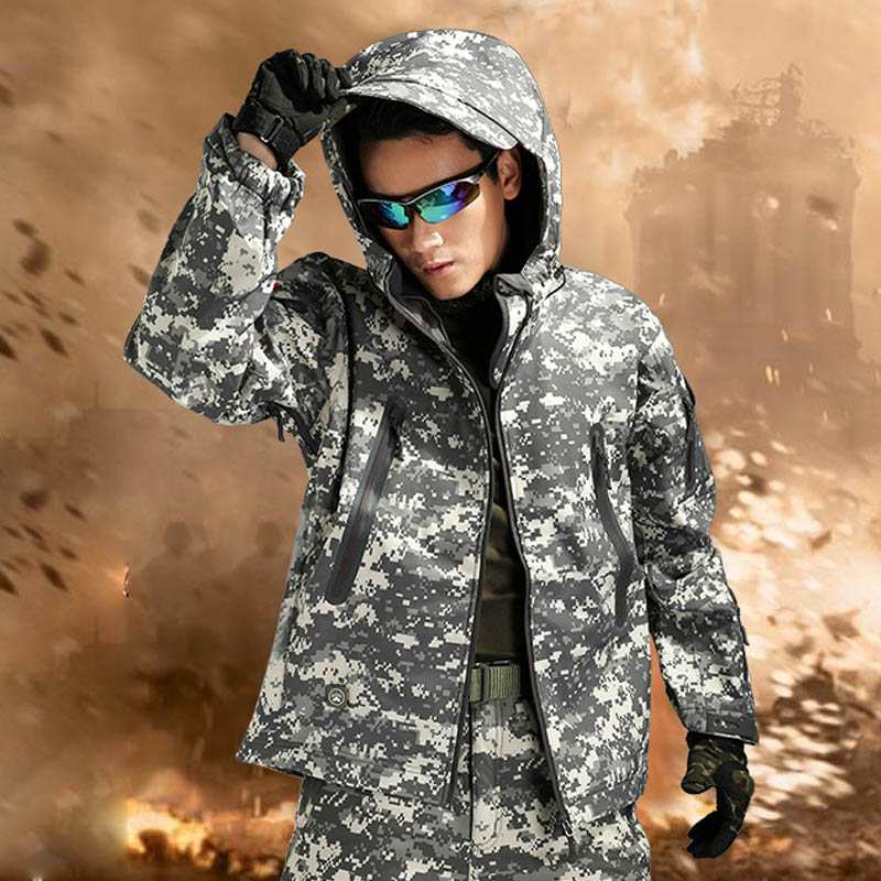HOT 2017 Outdoor Winter Thicken Cardigan Military Army TAD Shark Skin Soft Shell Total pressure Rubber Waterproof SKI Jacket Men lurker shark skin soft shell v4 military tactical jacket men waterproof windproof warm coat camouflage hooded camo army clothing