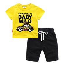 Boy clothes cotton  boy T-shirt casual shorts two-piece suit 2019 summer new children loose breathable short sleeve boy s new fake two piece pants summer fashion joker t shirt off two short sleeve children suit fashion kids clothes ali 350