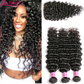 Brazilian Virgin Hair With Closure Brazilian Deep Curly Virgin Hair 3 Bundles With 1PC Top Lace Closure Human Hair With Closure