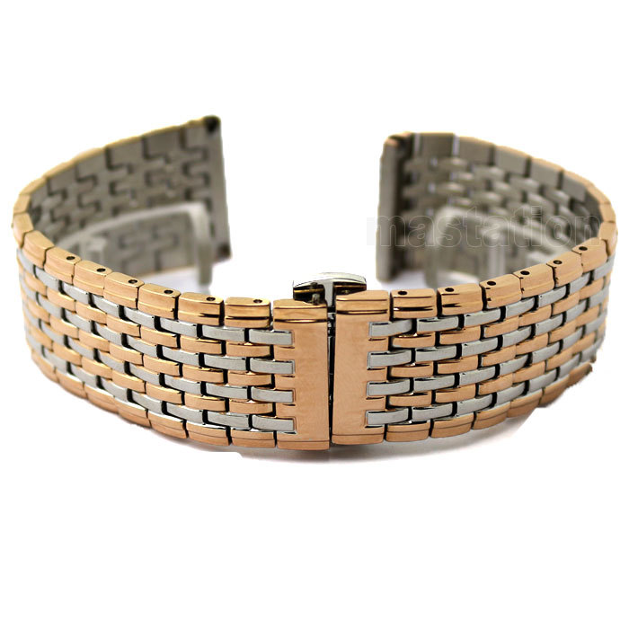 Free Shipping 20mm Rose Golden with Silver High Quality Fashion Watch Wrist Band Strap Women Men Gift GD013320 2016 new arrival golden steel strap women watch watch women high quality with rhinestone quartz watch men watch free shipping