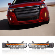 New 6 LED Daytime Running Light For Ford Edge 2011 2012 2013 2014 DRL Car Styling Modify Fog Lights With Turn Signal