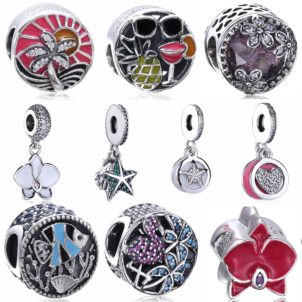 Original Beads: Slovecabin Original 925 Sterling Silver Flowers Beads For