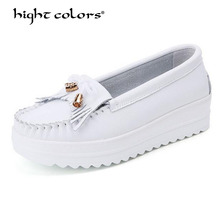 31~43 Big Size 2019 Spring/Autumn white and blue Pumps High Heels wedges shoes for women genuine leather ladies shoes Ta-7701 цены онлайн