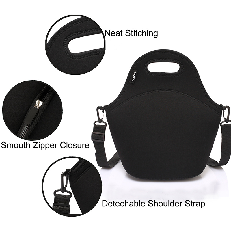 Image 5 - VASCHY Neoprene Insulated Lunch Bags for Women Men with Detachable Adjustable Shoulder Strap for Work in Paisley Clover PatternLunch Bags   -
