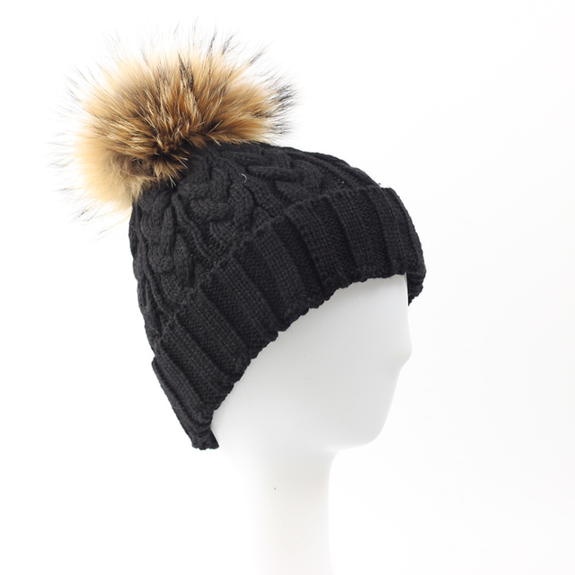 Women Knitted Wool Natural Raccoon Fur Pompoms Hat Female Winter Braid Cap Headgear For Women Skullies Beanies Hat-WH002-A-T-N