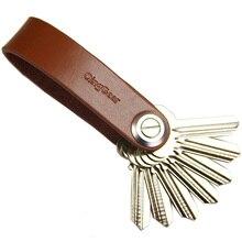 Qinggear lkey 가죽 자동차 키 홀더 손으로 만든 키 주최자 여행 및 실용적인 키 클립 도구 당신의 열쇠를 더 나아라