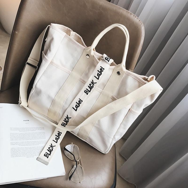 Canvas Handbags Women Men Shopping Bags Reusable Shopping Bag Colour Black White  Bags