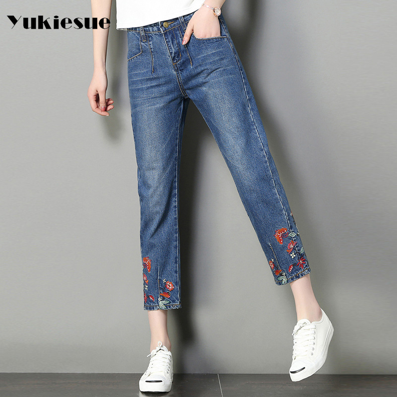 Wide leg jeans women 2017 autumn loose embroidery high waist ankle length pants denim jeans female Plus size jeans jemme mujer plus size side stripe wide leg blue capris jeans 4xl 7xl oversized tassel irregular fringe ankle length denim pants