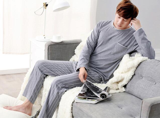 2019 sexemara brand new arrival fashion casual men sleeping cloth 100 cotton long sleeve solid pajamas
