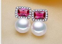 Lady's Earrings natural freshwater 925 pure silver fresh water pearls red gem Ear Studs earring white high grade Nobility Women