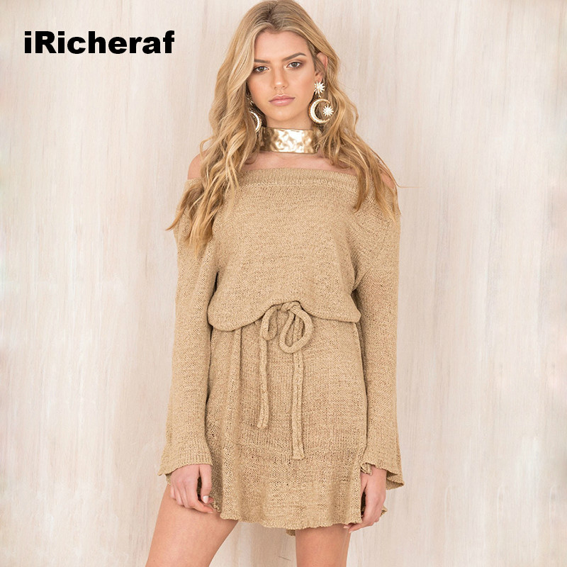 iRicheraf Women Fashion Long Sleeve Off Shoulder Slash Neck Sexy Party Club Dress Loose Knitted Sweater Casual Dresses Vestidos цена и фото