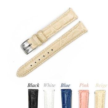 Correa de reloj de cuero 12mm 14mm 16mm 18mm 20mm correa de reloj Beige rosa azul correa de cuero genuino para la hora con hebilla de acero inoxidable