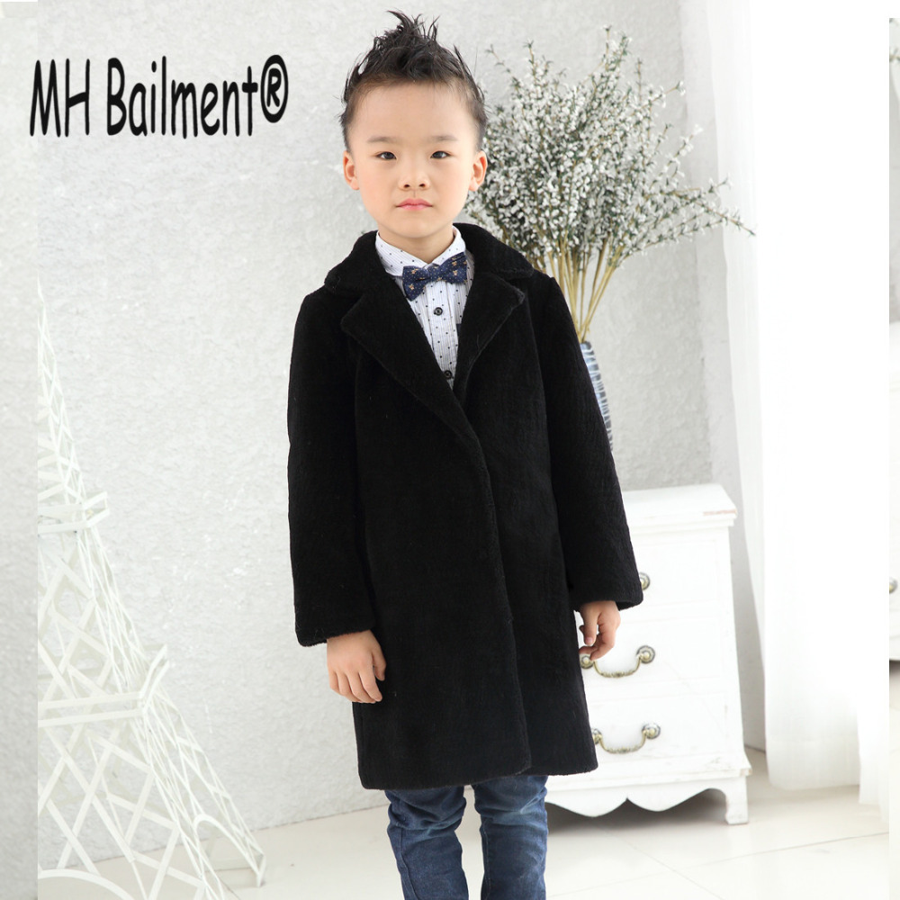 2017 New Boys Sheep Shear Leather Fur Coat Winter Warm Children Suit Jacket Long Clothing Solid  Real Sheep Fur Long Coats C#34 children real crystal fox fur coat 2017 new autumn winter girls boys natural fur coat clothing warm kids thicken jacket