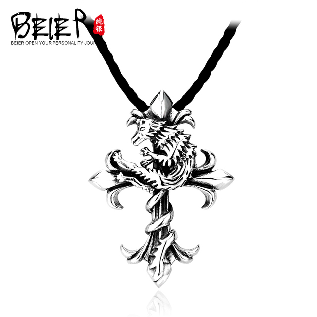 BEIER 925 Sterling Silver Man's Unique Vintage Cross Pendant Necklace For Man A1380