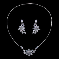Moonsoul Women Wheat Noble And Elegant Wheat AAA Cubic Zirconia Jewelry Necklaces And Earrings Jewelry Sets