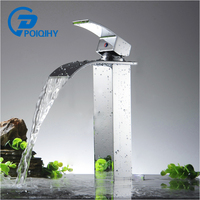 POIQIHY Basin Faucets Waterfall Bathroom Faucet Single handle Basin Mixer Tap Bath Antique Faucet Brass Sink Water Crane Silver