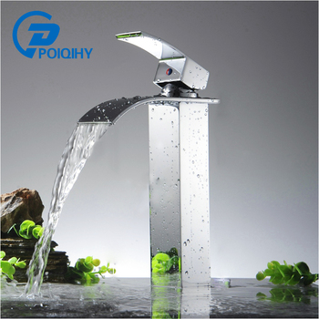 POIQIHY Basin Faucets Waterfall Bathroom Faucet Single handle Basin Mixer Tap Bath Antique Faucet Brass Sink Water Crane Silver 1