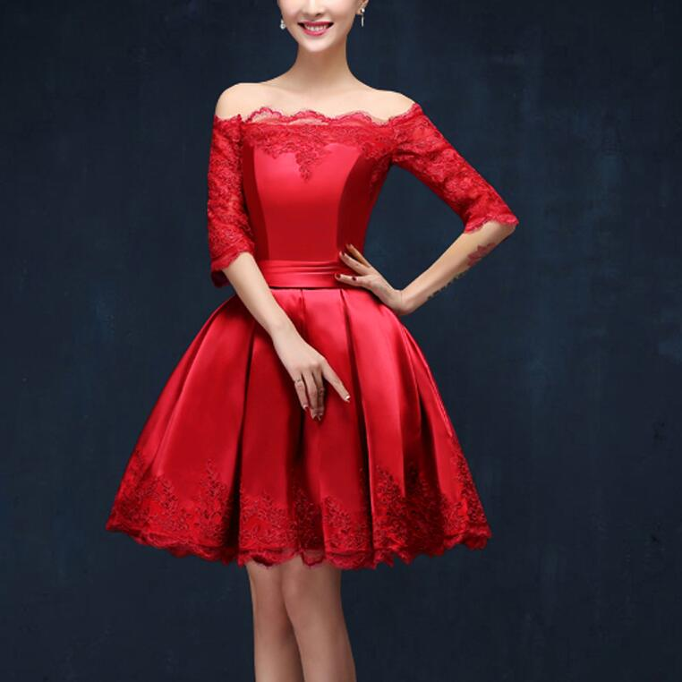 2016 New Short Evening Dresses with Half Sleeve Elegant Red A-Line Bride Gown Ball Prom Party Homecoming/Graduation Formal Dress
