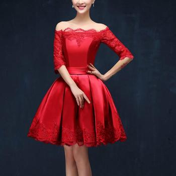 New Short Bridesmaid Dresses with Half Sleeve Elegant Red A-Line Bride Gown Ball Prom Party Homecoming/Graduation Formal Dress 2016 new lace evening dresses with cap sleeve flower red bride gown ball prom party homecoming graduation princess formal dress