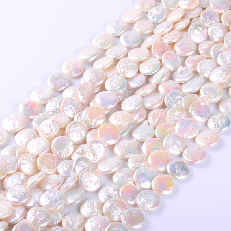1pack/lot 14-15mm AA quality flat round white Natural freshwater Pearl spacer Loose Beads DIY for Jewelry bracelet necklace