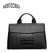 BENVICHED Ladies' pu Crocodile pattern bag 2019 new fashion black Simple atmospher handbag Inclined single shoulder bag c403 2017 spring and summer new ladies handbag simple single shoulder bag women luxury handbag designer fashion inclined shoulder bag