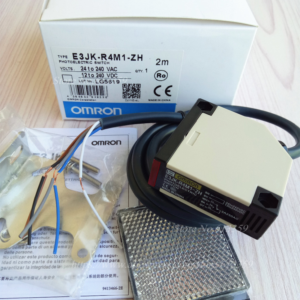 2pcs Omron E3jk Ds30m1 3a 12 24vdc 90 250vac 5 Wire Diffuse Photoelectric Switch Wiring R4m1 Zh Ac Dc Sensor New High Quality