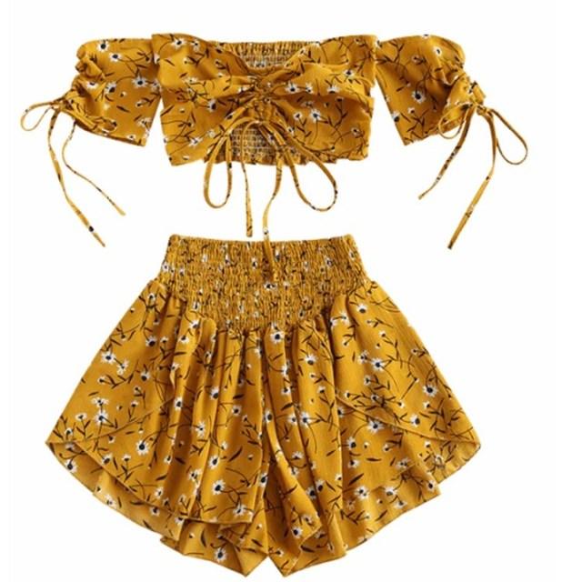 7c78d179 Estampado Floral Slash Neck Boho dos piezas conjunto mujer Crop Top alta  cintura pantalones cortos playa trajes Sexy