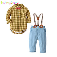 4Piece Spring Autumn Baby Outfit Boys Clothes Fashion Gentleman Newborn Bodysuits+Pants+Bow+Straps Infant Clothing Sets BC1415 1
