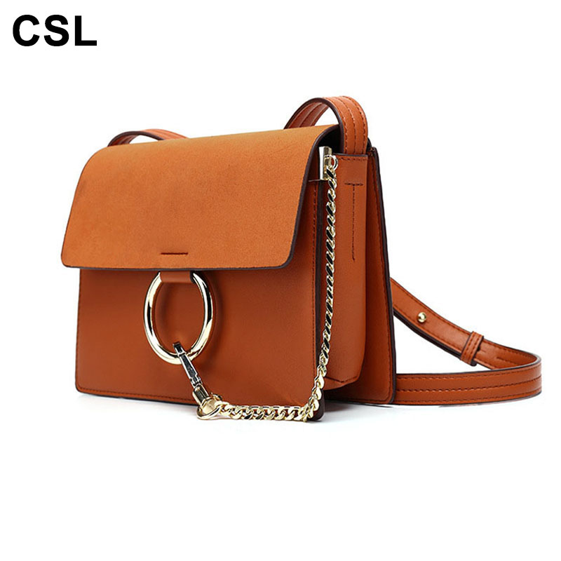 2017 New Style Women Handbag Round Ring Chain PU Leather Women's Shoulder Bags Messenger Crossbody  Bag Handbags For Ladies