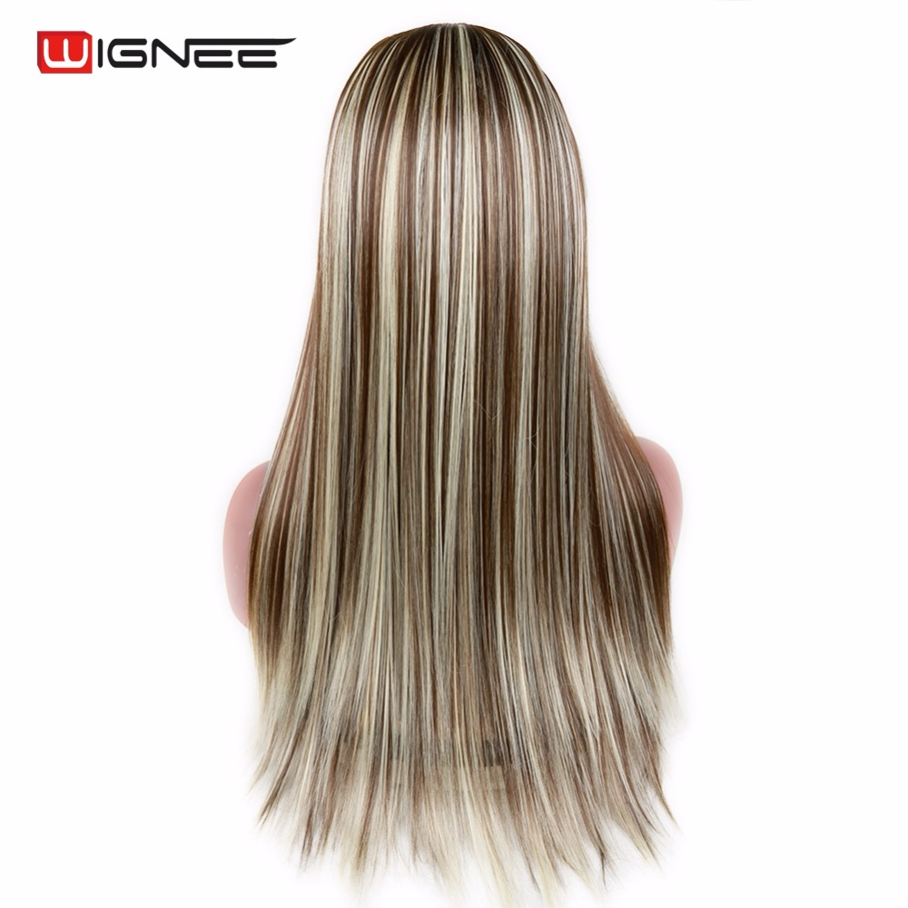 Wignee Long Straight Hair 7 Clips In U Part Synthetic Wig One Piece Half Head Natural Wig Pieces For Women Daily Cosplay Party