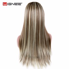 Wignee Long Straight Hair 7 Clips in U Part Synthetic Wig One Piece Half Head Natural Pieces for Women Daily Cosplay Party