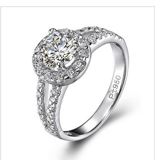 Halo Style 2CT Round Brilliant Synthetic Diamonds Women Engagement Ring Solid Pure Silver Wedding Ring Girl Love Best Jewelry