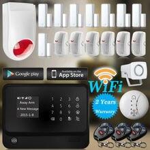 2016 Wi-Fi Сигнализация GSM GPRS SMS Главная Охранной Сигнализации управления IOS ANDROID APP Управления Комплект Мигающий сирена 8 Дверные Датчики