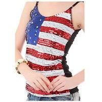 2016 Холтер укороченные топы Американский Флаг топы с бретельками блестками Bling жилет бюстье Strappy Bra Camisetas De tirantes Mujer