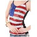 2016 recortada tops bandera americana camisetas sin mangas con lentejuelas bling bling halter strappy bra bustier chaleco camisetas de tirantes mujer